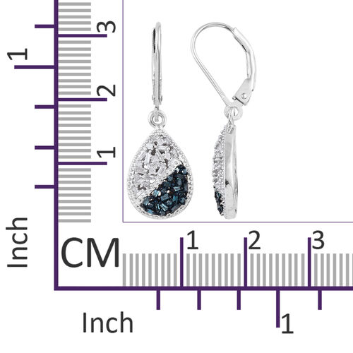 Blue and White Diamond (Bgt) Lever Back Drop Earrings in Platinum Overlay with Blue Plating Sterling Silver 0.500 Ct.