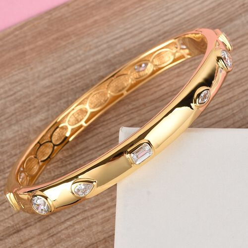 J Francis 14K Gold Overlay Sterling Silver Bangle (Size 7.5) Made with SWAROVSKI ZIRCONIA 9.61 Ct, Silver wt. 28.47 Gms