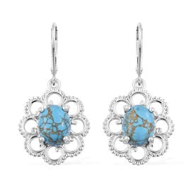 Mojave Blue Turquoise (Ovl 10x8 mm) Lever Back Earrings in Sterling Silver 5.500 Ct.