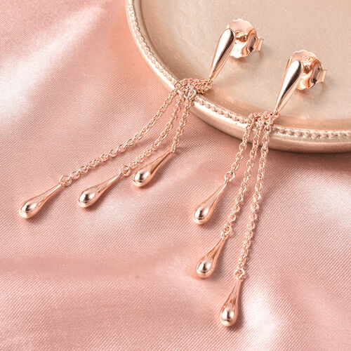 LucyQ Multi Drip Earrings (with Push Back) in Rose Gold Overlay Sterling Silver