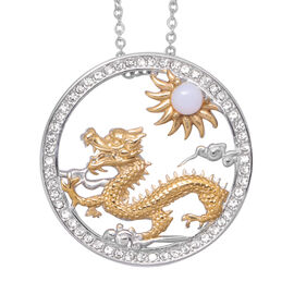 Opalite and White Austrian Crystal Dragon Pendant with Chain (Size 24) in Gold Tone and Plain Stainl