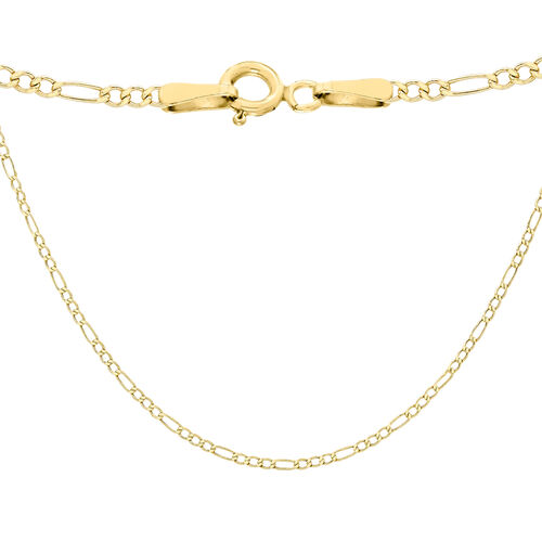 9K Yellow Gold Hollow Figaro Chain (Size 20), Gold wt 1.80 Gms