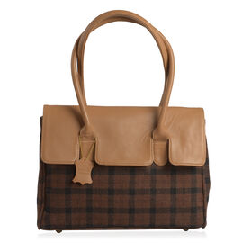 RFID Blocker Tan Genuine Leather and Black Tweed Check Pattern Handbag (Size 37X35X7X10 Cm)