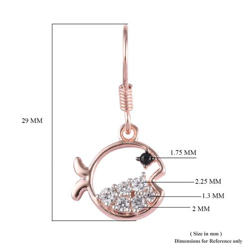 Boi Ploi Black Spinel and Natural Cambodian Zircon Fish Hook Earrings in Rose Gold Overlay Sterling Silver 1.03 Ct.