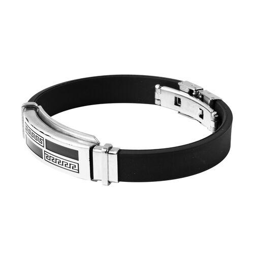 Bracelet (Size 7.5) in Stainless Steel - Greek Key