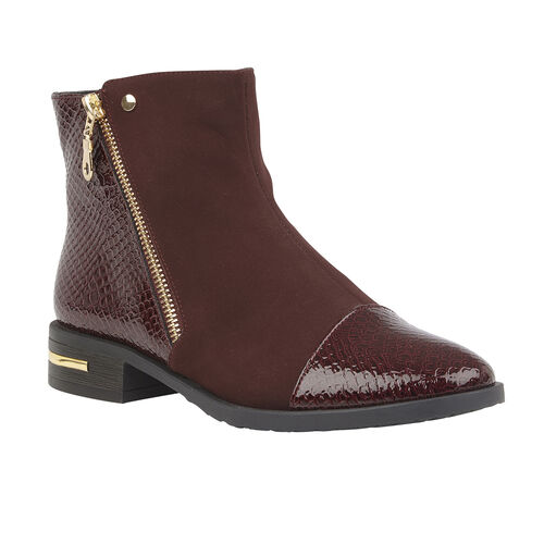 Lotus Snake-Print Microfibre Coppice Ladies Ankle Boots (Size 5) - Maroon