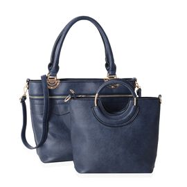 2 Piece Set - Navy Blue Colour Handbag with Adjustable and Removable Shoulder Strap (Size 38x30x14x28.5 Cm)