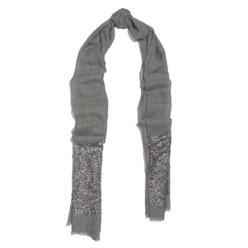 Close Out Deal Designer Inspired - Merino Wool and Mulberry Silk Shawl With Hand Done Sequin embellishment and Fringes - Grey (Size 200X70 Cm)