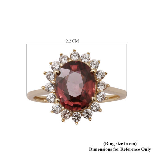 9K Yellow Gold Tanzanian Pink Zircon and Natural Cambodian Zircon Halo Ring 5.54 Ct.