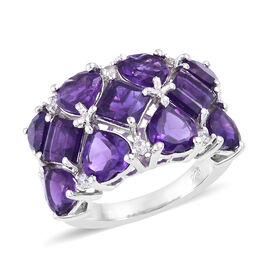 6 Carat Lusaka Amethyst and Natural Cambodian Zircon Cluster Ring in Platinum Plated Sterling Silver