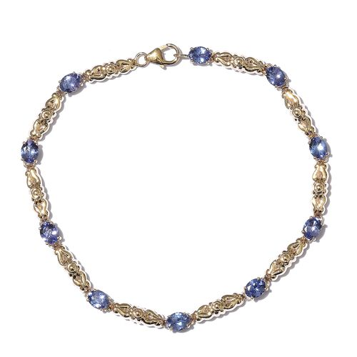 3.75 Ct AAA Tanzanite Bracelet in 9K Gold 8 Inch
