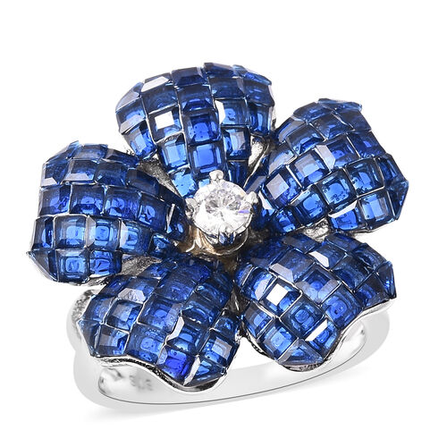 Lustro Stella - Mystery Setting Simulated Blue Sapphire and Simulated Diamond Floral Ring in Rhodium
