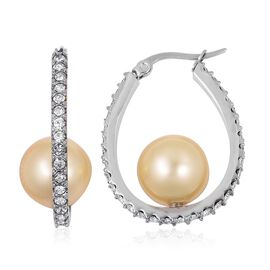 Designer Inspired-Golden Shell Pearl and White Austrian Crystal Beads Hoop Earrings (With Clasp Lock) in Stainless Steel