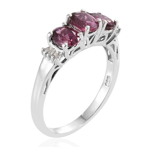Tanzanian Pink Garnet (Ovl), Diamond Ring in Platinum Overlay Sterling Silver 1.500 Ct.