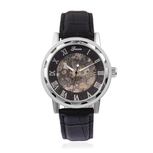 GENOA Semi - Automatic Mechanical Movement Black Dial Watch with Black Leather Belt