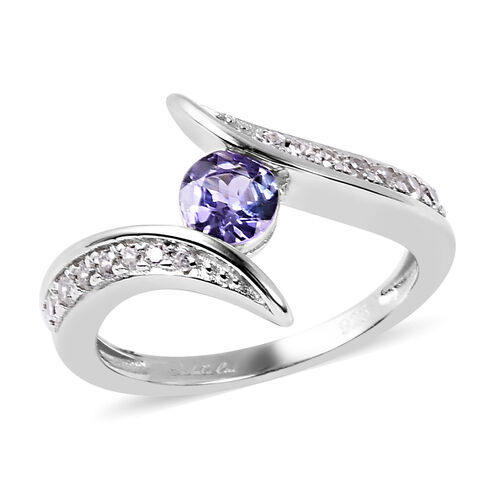 Isabella Liu Twilight Collection - Tanzanite and Natural Cambodian Zircon Bypass Ring in Rhodium Ove
