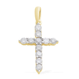 9K Yellow Gold SGL Certified (I3/G-H) Diamond (Rnd) Cross Pendant 0.500 Ct.
