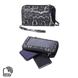 2 Piece Set - Grey and Black Leopard Print RFID Crossbody Bag and 4000mAh Wireless Power Bank