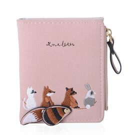 Chocolate, Black and Pink Colour Animal Pattern Ladies Wallet (Size 11.2x9x1 Cm)