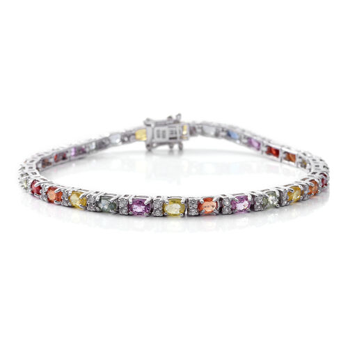 Rainbow Sapphire (Ovl), Natural White Cambodian Zircon Bracelet (Size 7.5) in Rhodium Plated Sterling Silver 8.750 Ct. Silver wt 9.20 Gms.