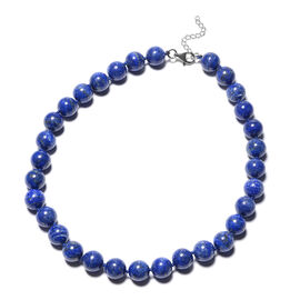 850 Ct Lapis Lazuli Beaded Necklace in Rhodium Plated Sterling Silver 20 with 2 inch Extender
