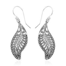 Designer Inspired- Sterling Silver Balinese Jawan Leaf Hook Earrings