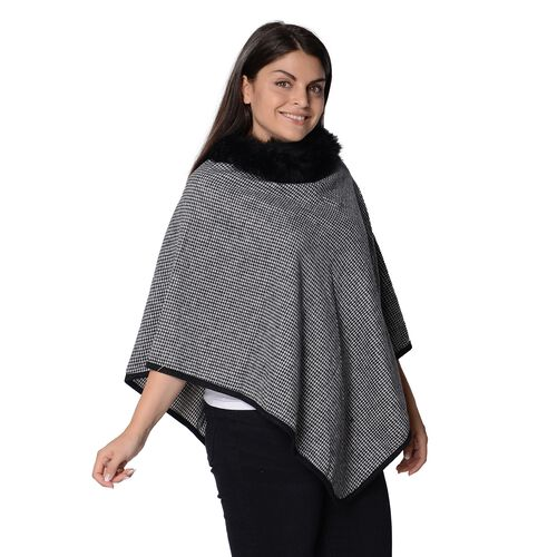 Pied De Poule Pattern Winter Poncho with Faux Fur Collar (Size 83x97 Cm) - Grey and Black
