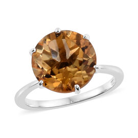 Tucson Buy-Extremely Rare Size AAA Uruguay Citrine (Rnd 11 mm) Ring in Platinum Overlay Sterling Silver 7.750 Ct.