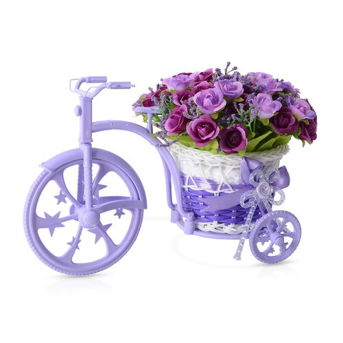 Home Decor - Nostalgic Bicycle with Artificial Flower Decor Plant Stand (Size 26x13x18 cm) - Colour