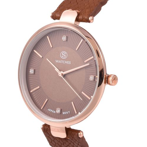 STRADA Japanese Movement Water Resistant White Austrian Crystal Studded Watch with Brown Strap
