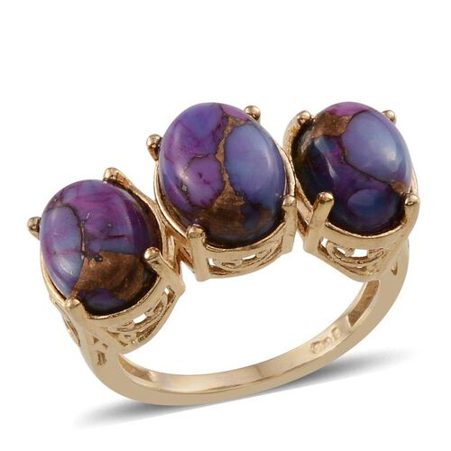 Mojave Purple Turquoise (Ovl) Trilogy Ring in ION Plated 18K Yellow Gold Bond 4.250 Ct.