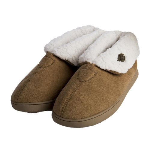 ARAN Suede Bootie Slippers with Fur Lining (Size:Large 8-9) - Brown