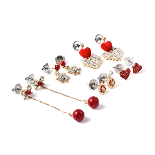 Set of 5 -  Red and White Austrian Crystal, Simulated Ruby, Simulated Diamond and Simulated Red Pearl Earrings (with Push Back and Detachable)
