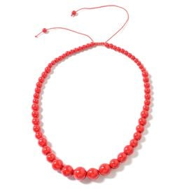 Hong Kong Collection  Red Howlite Graduated Adjustable Necklace (Size 18 - 24) 278.000 Ct.