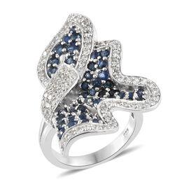 Designer Inspired-Kanchanaburi Blue Sapphire (Rnd), Natural White Cambodian Zircon Wave Ring in Plat