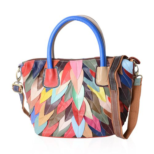 Morocco Collection 100% Super Soft Genuine Leather Feather Pattern Tote Bag with Removable Shoulder