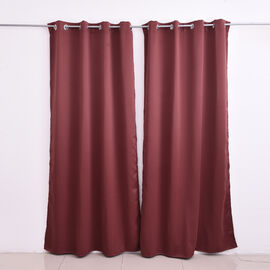 2 Piece Set - Blackout Curtains with Metal Eyelets (Size 140x240cm/Curtain) - Rosewood Colour