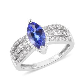 Premium AAA Tanzanite and Natural Cambodian Zircon Ring in Platinum Overlay Sterling Silver 1.50 Ct.