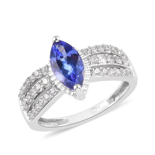 Tanzanite, Natural Cambodian Zircon Ring in Platinum Overlay Sterling Silver 1.50 Ct.