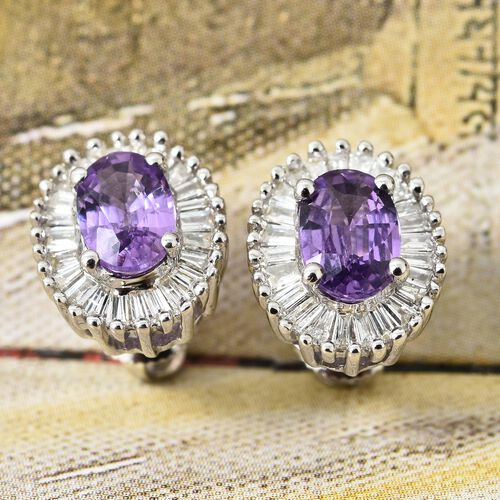 ILIANA 18K White Gold AAA Natural Purple Sapphire (Ovl), Diamond (SI/G-H) Stud Earrings (with Screw Back) 1.350 Ct.