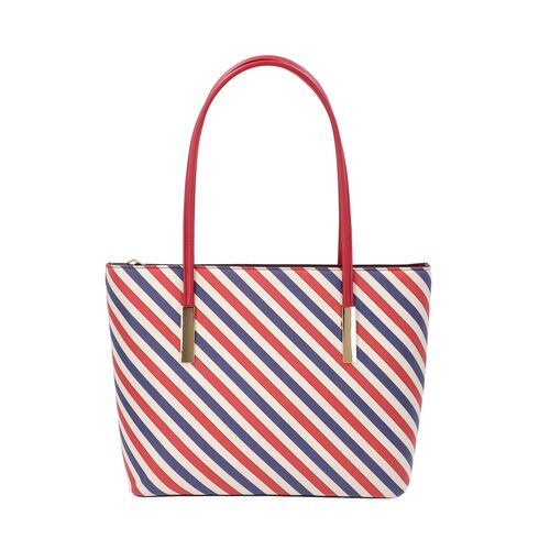 Diagonal Stripe Pattern Tote Bag with Zipper Closure and External Pocket (Size 32x11x26 Cm) - Red, N