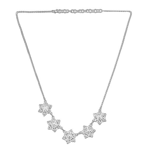 Royal Bali Lotus Floral Necklace in Silver 10.58 Grams 18.5 with 2 inch Extender