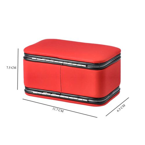 2 in 1 - Six Piece Manicure Set and Travel Jewellery Organiser with Inside Mirror (Size 11.7x7.5x6.5cm) - Red