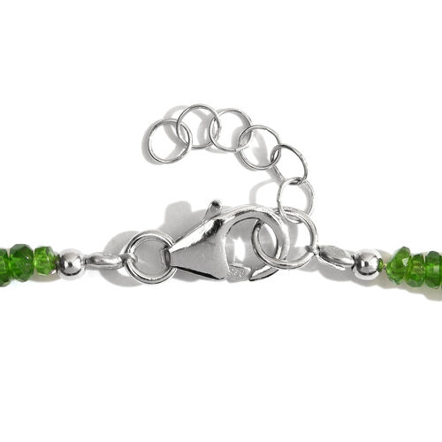 Russian Diopside (Rnd) Necklace (Size 18 with Half inch Extender) in Rhodium Plated Sterling Silver 50.000 Ct.