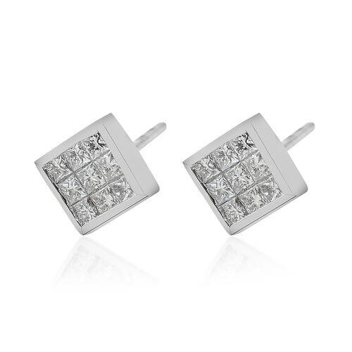 RHAPSODY 950 Platinum IGI Certified Diamond (Sqr) (VS /E-F) Earrings (With Screw Back) 0.500 Ct.