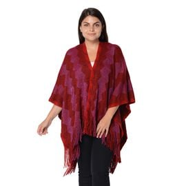 Wave Stripe Pattern Blanket Kimono with Blue and Black Wire and Tassels (Size 64x104 Cm) - Wine