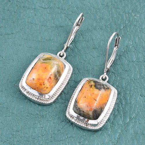 Bumble Bee Jasper (Cush) Lever Back Earrings in Platinum Overlay Sterling Silver 11.500 Ct.