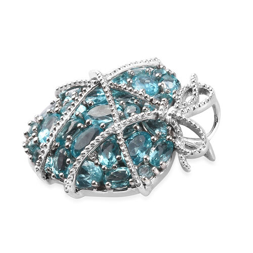 GP - Paraibe Apatite, Natural Cambodian Zircon and Blue Sapphire Cluster Heart Pendant in Platinum Overlay Sterling Silver 7.07 Ct, Silver wt 8.33 Gms