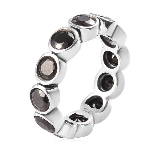 Elite Shungite Bezel Set Eternity Band Ring in Sterling Silver 2.50 Ct.