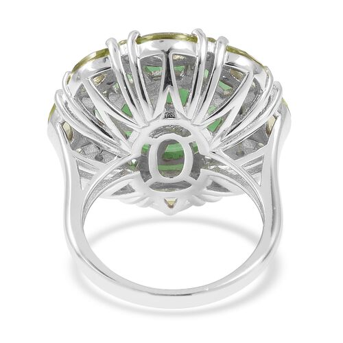 Green Jade, Hebei Peridot and Natural Cambodian White Zircon Carved Jade Ring in Rhodium Overlay Sterling Silver 9.880 Ct.